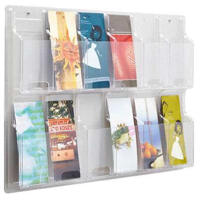 Safco Reveal 5604Cl Clear 12 Literature Pamphlet Wall Display Holder W/ Hardware