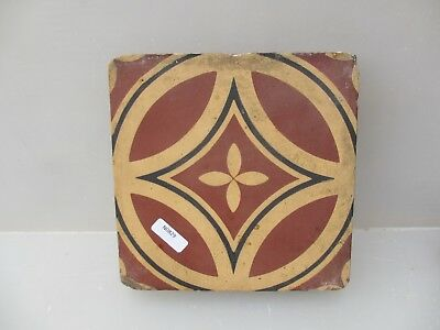 Victorian Ceramic Floor Tile Terracotta Antique 1800's Pugin Gothic Old Maw&Co