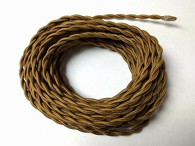 (10 ft) Vintage 2-Wire Twisted Cloth Covered Wire Lamp Fan Cord Bronze Brown