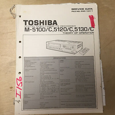 Toshiba Service Manual for the M 5100 5120 5130 C VCR Video Cassette Recorder