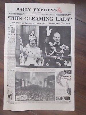VINTAGE NEWSPAPER DAILY EXPRESS JUNE 3rd 1953 ELIZABETH II CORONATION SPECIAL
