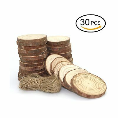 "Natural Wood Slices 30 Pcs Unfinished Predrilled 1.9""-2.4"" Round Discs-US Seller"