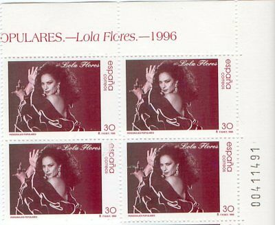 Lola Flores - Limited Edition Block Of 4 Mail Stamps / Spain 1996