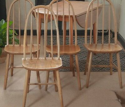 Vintage Ercol Windsor Style Light Elm 4 x Chairs+ Drop Leaf Table  60's retro,