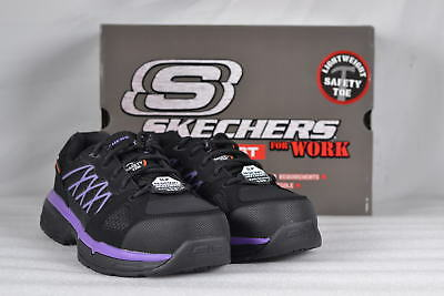 Women's Skechers Conroe-Kriel Slip Resistant Work Shoe Black/Purple