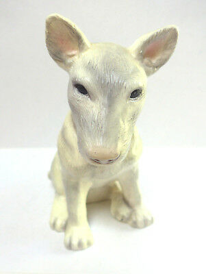 English Bull Terrier Statue Figurine Ceramic Gray White Dog Puppy Decor Gift