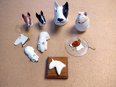 Handmade Homemade Clay English Bull Terrier Figurine Statue Folk Art OOAK