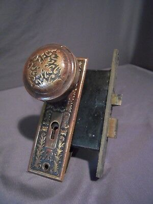 Antique Hardware Solid Brass Victorian Ornate Door Knob Set w/ Mortise Lock