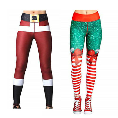 Women's Christmas Leggings Active Workout Running Yoga Gym Pants Stretchy Casual
