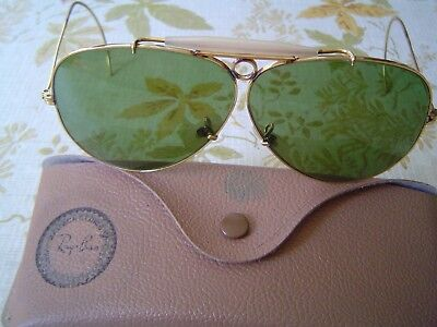 Ray-Ban Bullet Hole Aviator Green Shooting Glasses  10K Gold   With  Case