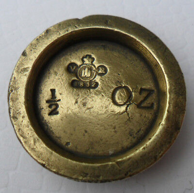 Antique Victorian Brass Weight - 1/2 oz Edinburgh County (1)