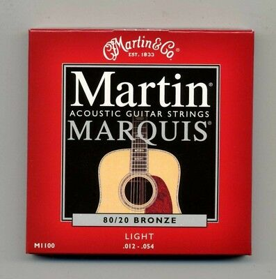 1 Pkg Martin Marquis Acoustic Guitar Strings M1100 82/20 Bronze / Light 12-54