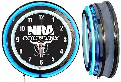 "NRA Country National Rifle Association 19"" Double Neon Clock BLUE Neon Chrome"