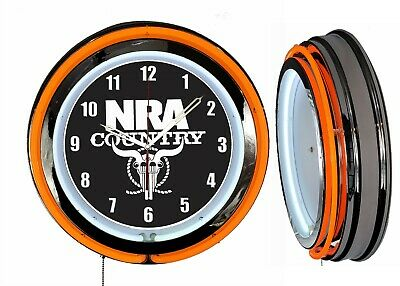 "NRA Country National Rifle Association 19"" Double Neon Clock Orange Neon Chrome"