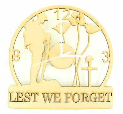 'Lest We Forget' Remembrance Soldier Wooden MDF Craft Clock with Clock Mechanism