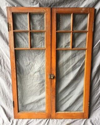 Pair Antique Varnished 5 Lite Casement Door Windows Cabinet 16x46 Vtg 317-18C