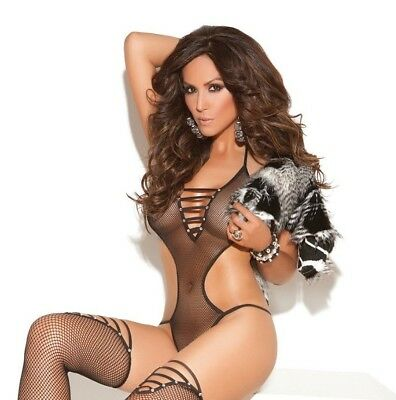 Black Fishnet Side Cut Out Halter Teddy Bodysuit Women Lingerie Sexy Stocking