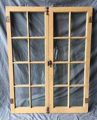 Pair Antique Tan 8 Lite Casement Door Windows Cabinet 18x48 Vintage 318-18C