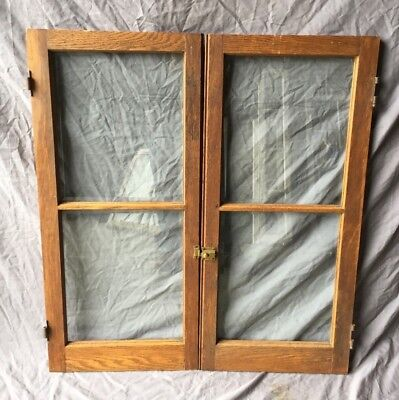 Pair Antique Oak Beveled 2 Lite Varnished Casement Door Window Vtg 17X38 319-18C