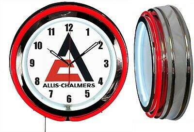 """Allis Chalmers 19"""" Double Red Neon Clock Farm Tractor"""
