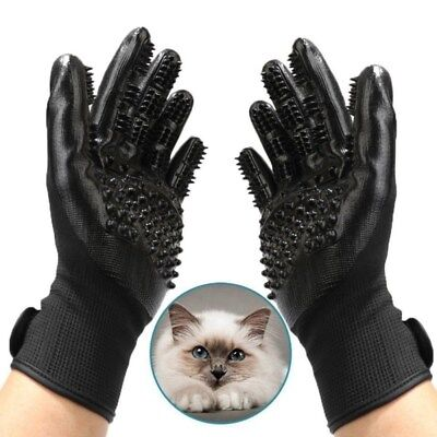 2x Pet Dog Cat Grooming Gloves Brushes Hair Remover Massage Cat Cleaner Black