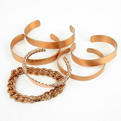 Solid Copper Lot of 6 Bracelets Cuff I.D. & Link Vintage Jewelry 173.0 g