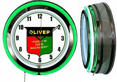 """Oliver Finest in Farm Machinery 19"""" Green Double Neon Clock Chrome Finish"""