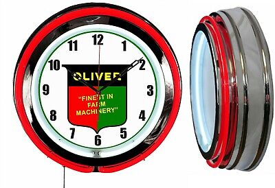 """Oliver Finest in Farm Machinery 19"""" Red Double Neon Clock Chrome Finish"""