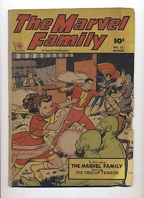 The Marvel Family #21 Fair Several Dog Ear Page Corners