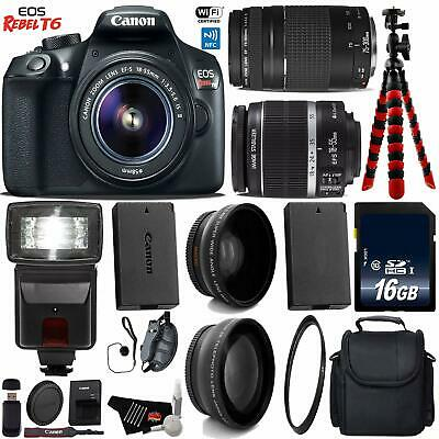 Canon EOS Rebel T6 DSLR Camera with 18-55mm is II Lens & 75-300mm III Lens +...