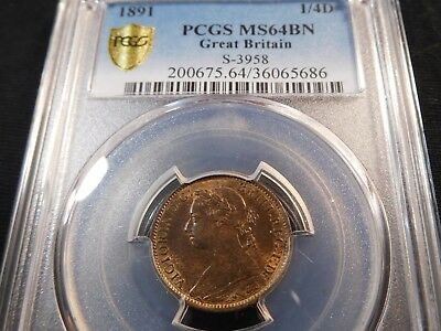 A30 Great Britain 1891 Farthing S-3958 PCGS MS-64 Brown