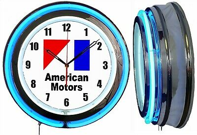 "American Motors AMC 19"" Blue Double Neon Clock Chrome Finish"