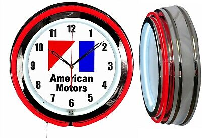 "American Motors AMC 19"" Red Double Neon Clock Chrome Finish"