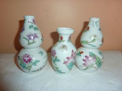 Pair Of Chinese 13Cm Double Gourd Vases &one 10.5Cm Vase With Flower/leaf Design