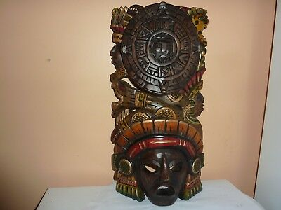 Carved Wooden 40 Cm Painted Face Mask/head Dress With Aztec/mayan/inca Images