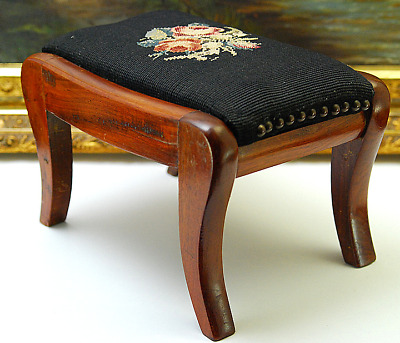 Antique Small Needlepoint Foot Stool
