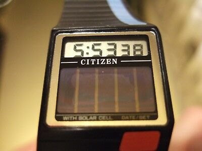NEW OLD STOCK 1988 CITIZEN D080 DX-6030-50 SOLAR Vintage LCD Digital SLIM Watch!