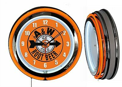 "A&W Ice Cold Root Beer Sign 19"" Orange Double Neon Clock Man cave Garage Chrome"