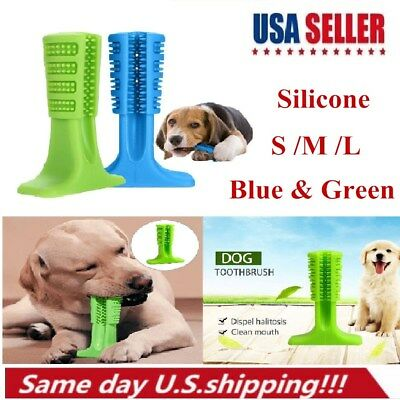 Pet Dog Toothbrush Silicone Brushing Stick Pet Molars Bite Chew Cleaning Teeth