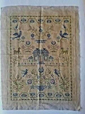 "Antique Sampler Cross Stitch Home Theme Approximately 17"" x 23"""