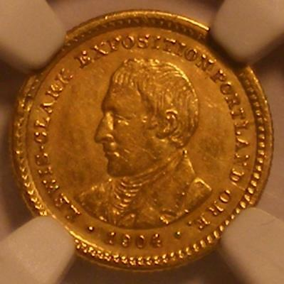 1904 Lewis & Clark GOLD Dollar NGC AU Details; Damaged; Cleaned