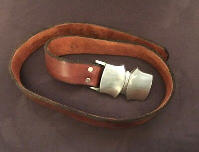 Vintage Bristol H. Newman Leather Belt And Buckle Small/Medium