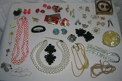 Vintage Costume Jewelry Lot Clip On Earrings Rings Pins Brooches Necklaces