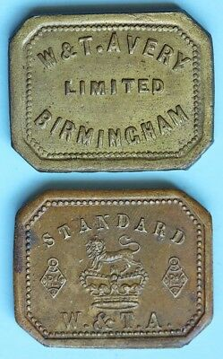 Two brass apothecary weights, Avery, two drams
