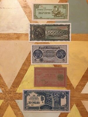 Group of 5 unusual WWII notes: occupied Burma, Negros Island, Greek inflation...