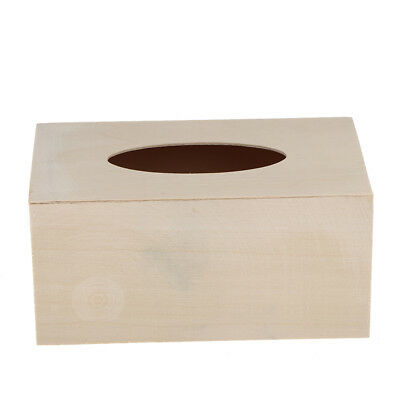 DIY Unfinished Wood Tissue Box Holder Wooden Box Cover Craft Home Decor