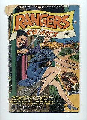 Rangers Comics #28 Good- 1946 Fiction House Small Piece Out Top Of 3 Pages
