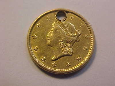 1851 Type 1,   $1 LIBERTY  Gold Dollar Nice XF Holed for pendant or Charm
