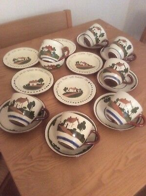 VINTAGE TORQUAY WARE POTTERY TEASET 19 pieces CUPS, SAUCERS, SIDE PLATES, ETC