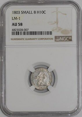 1803 Capped Bust Half Dime H10C Small 8 LM-1 R.6 #938969-1 AU58 NGC